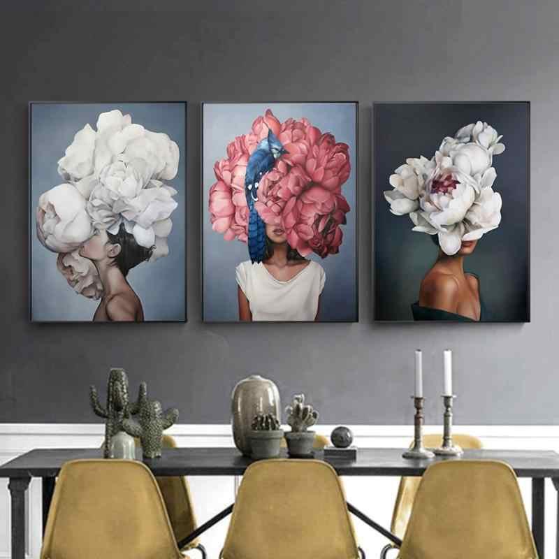 Nordic Moderne Blumen Feder Frau Wand Kunst Malerei Feder Poster und Drucke Wand Bilder für wohnzimmer Decor