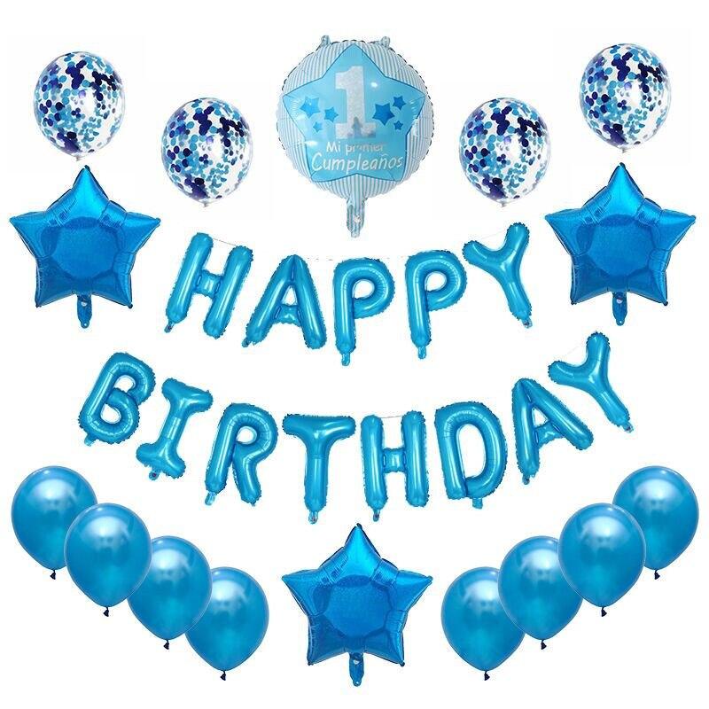 Blue Boy Happy 1st Anniversaire bulles Bannières Décorations Ballons Fêtes Fournitures