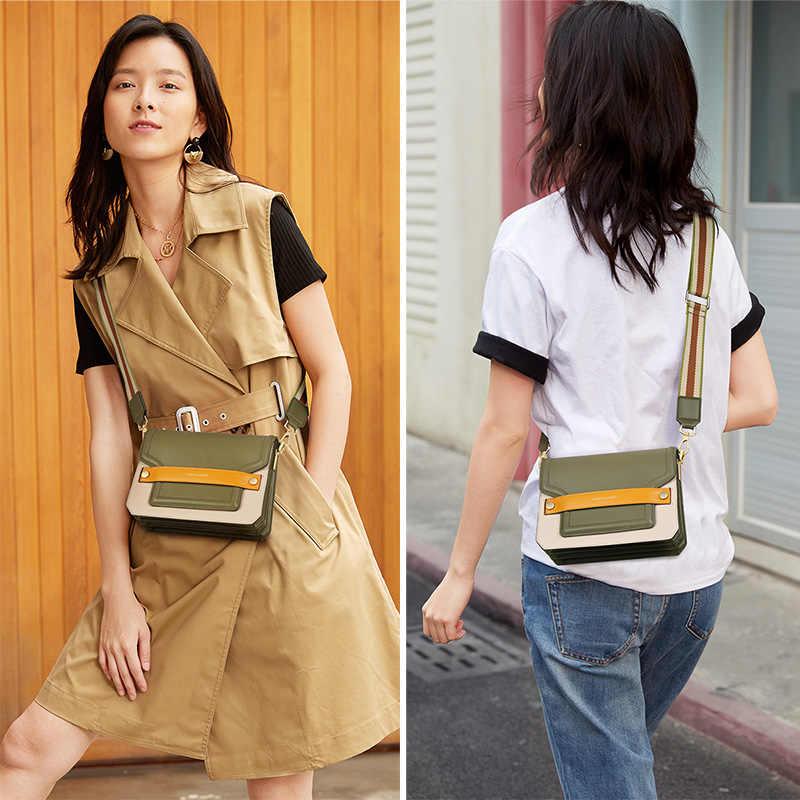Foxer Alpukat Hijau Baru Fashion Tas Bahu Wanita Kualitas Tinggi Kulit Wanita Messenger Tas Awal Musim Gugur Desain Warna Kontras