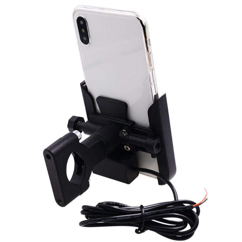 12V Metal Motorcycle Smart Phone Mount with USB Charger for 4-6.5inch Cellphone R9JB