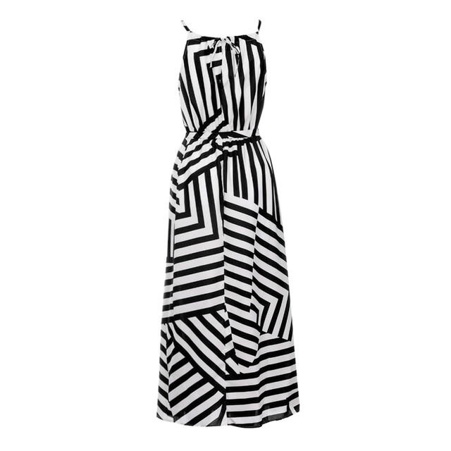 Sexy Dress Summer Dresses New Fashion Women Boho Striped Maxi Long Dress Sleeveless Beach Strap Sundress Vestidos verano 2020