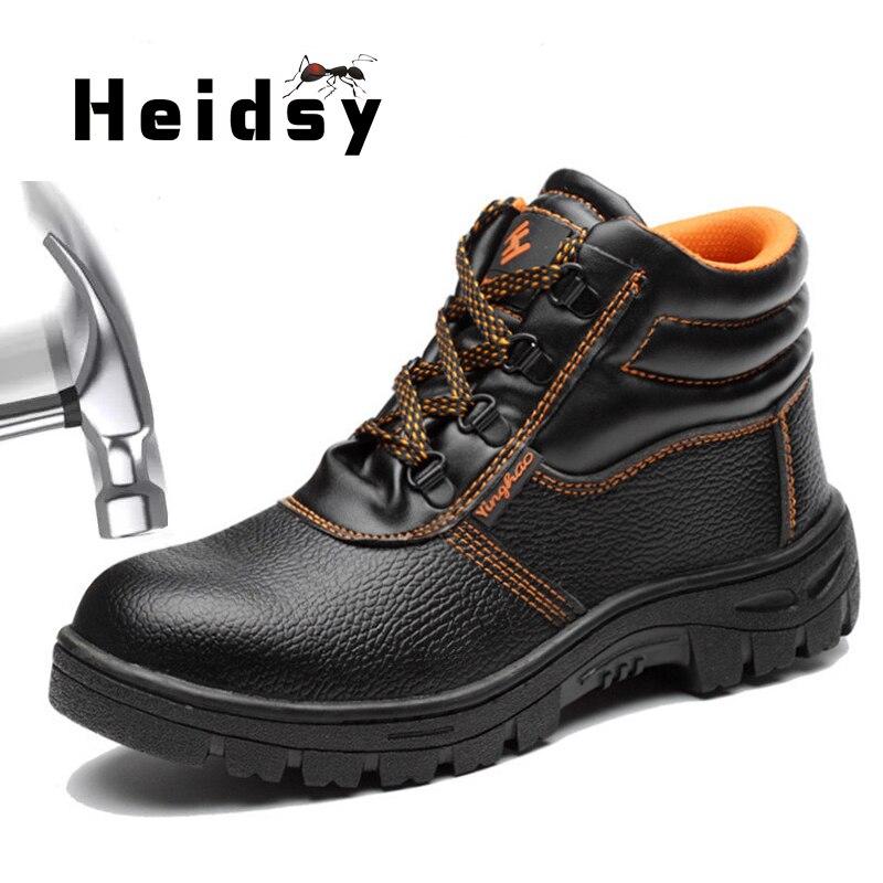 Ботинки мужские из искусственной кожи, Повседневная защитная обувь, Высокий Носок, защита от ударов, Осень-зима