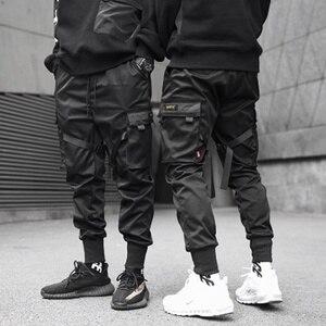 Ribbons Cargo Pants Men Casual Streetwear Harajuku Pants Hip Hop Trendy casual youth slim pants Stylish Men's Jogger Trousers
