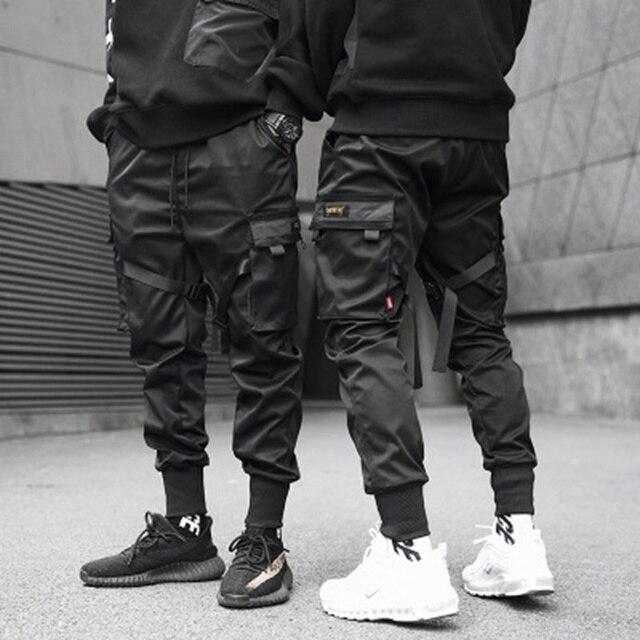 Ribbons Cargo Pants Men  Casual Streetwear Harajuku Pants Hip Hop Trendy casual youth slim pants  Stylish Men's Jogger Trousers 32