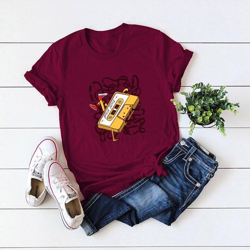2019 European style Funny tape print Fashion T Shirt Women Casual Slim fit Short Sleeved Vintage Tshirt Harajuku Top Tees Female(China)