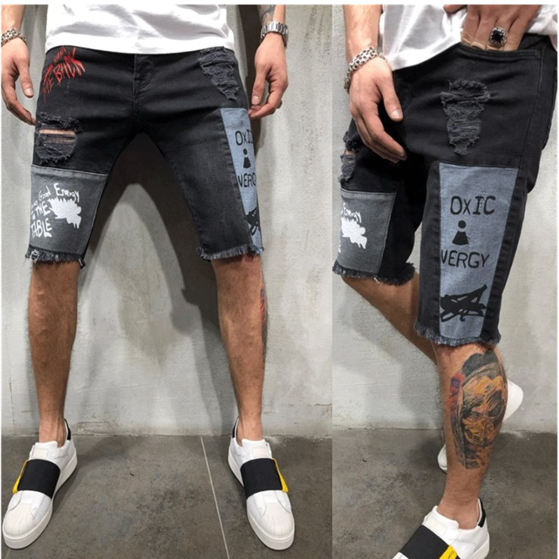 NWE Mens Printing Denim Chino Shorts Super STRETCH Skinny Slim Summer Half Pant Cargo Jeans Shorts