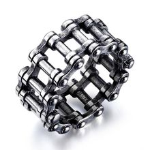 Titanium Steel Spinner Ring Motorcycle Biker Chain Band Punk Rock Mens Jewelry
