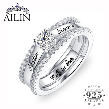 AILIN Engraved Promise Ring Women Birthstone Name Rings Silver Custom Wedding Engagement Ring Set With Cubic Zirconia Jewelry faux turquoise cow engraved jewelry set