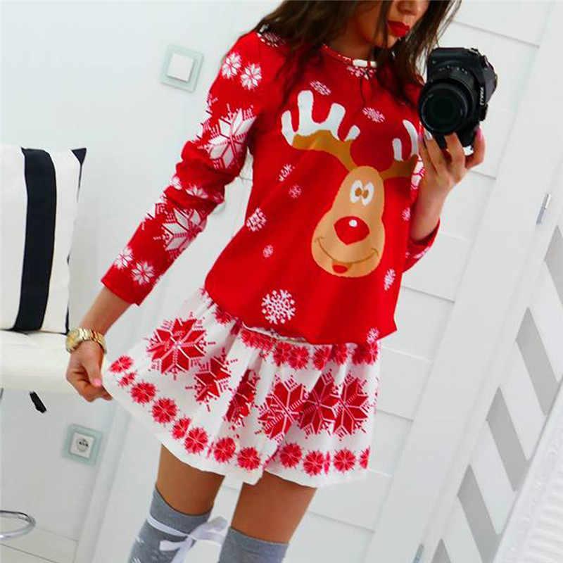 Moda wesołych świąt O-Neck płatek śniegu nadruk łosia Xmas z długim rękawem Mini sukienka Vestidos Verano 2019 Mujer Roupas Feminina Jurken