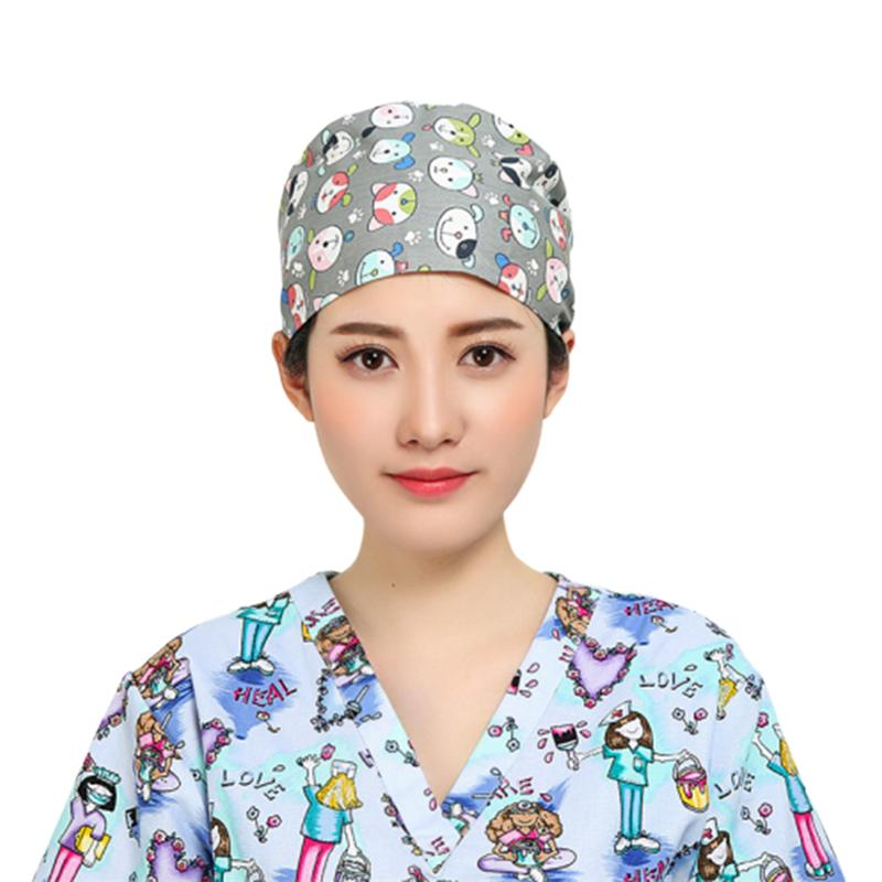 Surgical Cap Physician Nurse Hat Adjustable Cotton Print Dog Prints Cap Round Cotton Sweat Absorbing Nurse Cap Surgery Hat
