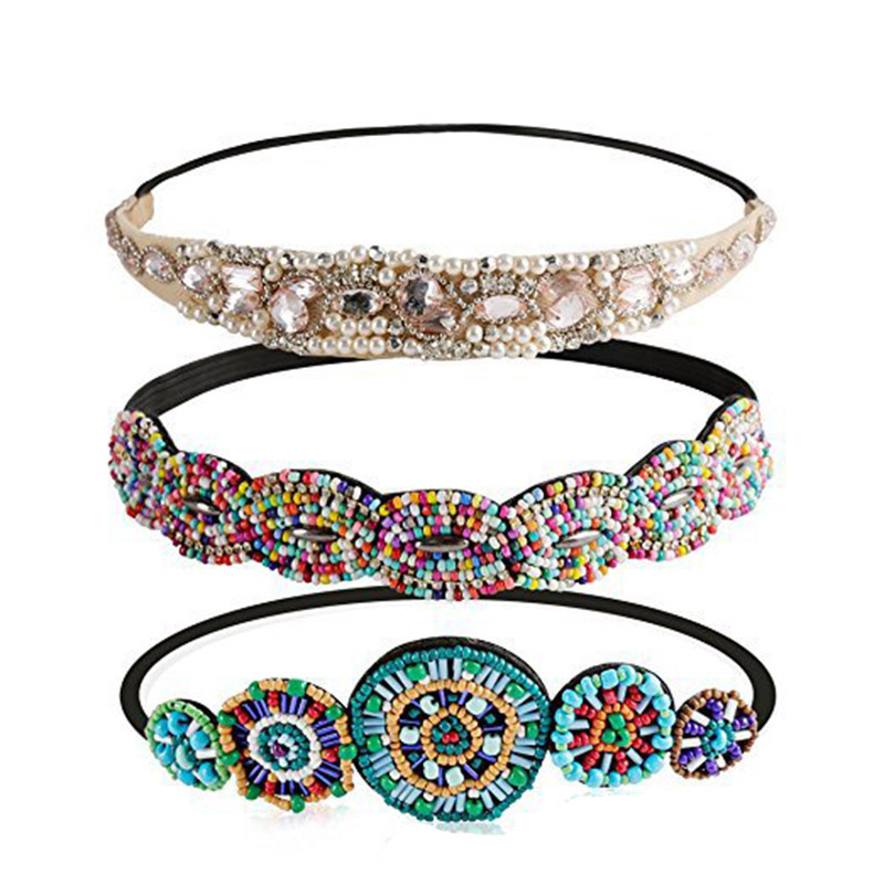 Ethnic Colored Seed Beads Handmade Headband Pearl Rhinestone Customized Beaded Hairband For Women & Girls Hair Accessories