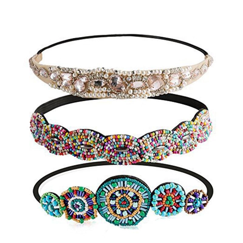 Ethnic Colored Seed Beads Handmade Headband Pearl Rhinestone Customized Beaded Hairband For Women & Girls Hair Accessories