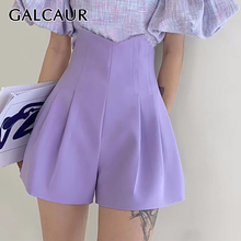 GALCAUR Women's ShortS Tunic High Waist Irregular Large Size Ruched Trouser Female Clothes Casual Fashion Summer 2020 Tide