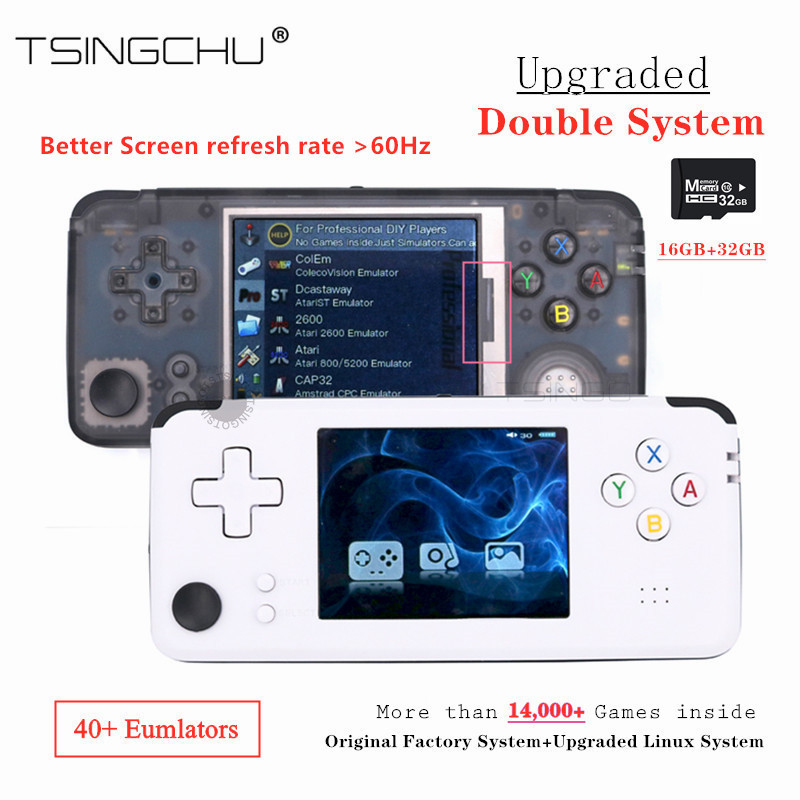 TSINGO Upgraded 60Hz Screen Linux Double System Retro Game Console 64bit 3 0inch Portable Handheld Video