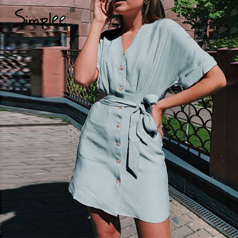 Simplee  Button Casual Beach Women  Summer Dresses Solid Pockets Short Dress Bow Sash Robe Femme High Waist Dresses Vestidos2020