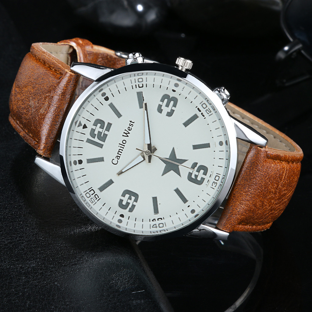 Men's Watch Fashion Luxury Quartz Watch High Quality Glass Casual Leather Belt Horloges Mannen Mens Watches Top Brand Luxury