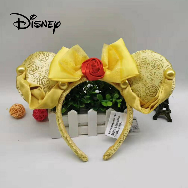Disney Beauty And Beast Headband Flowers Party Headwear Stereo  Mickey Ears Plush Headband Girl Toys Birthday Party Decoration