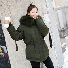 2019 Winter jacket women Thicken Warm Collect Waist Big fur collar Hooded parkas Casual Solid winter Cotton padded Jackets coat free shipping winter girl fashion coat imitation fur leather jacket to collect waist round collar