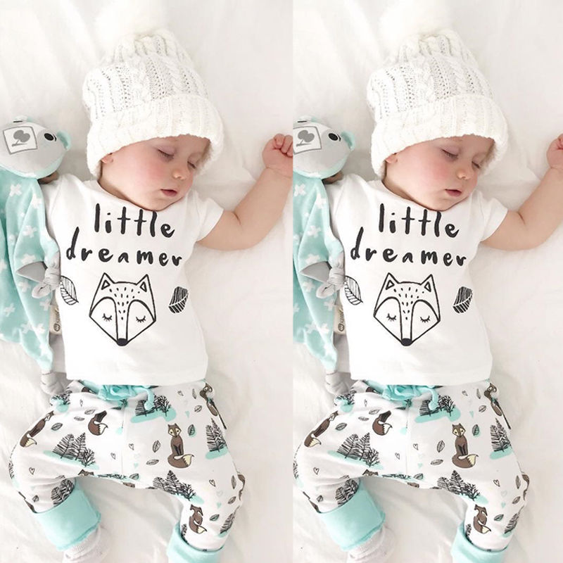 Newborn Baby Boys Clothes Set Toddler Kids Girls Cute Printed T-shirt Tops+Floral Pant 2PCS Outfits Clothing