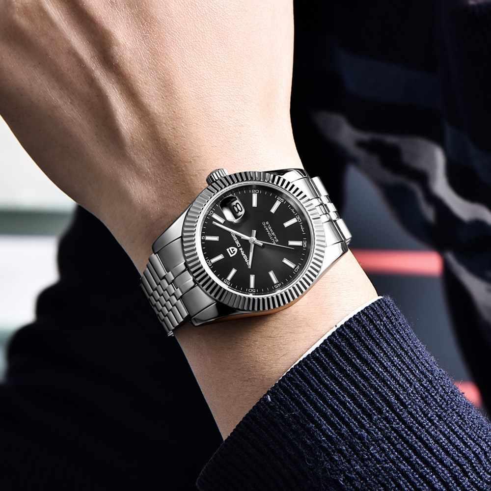 パガーニデザイン古典的な黒ダイヤル高級メンズ自動腕時計ステンレススチール防水機械式 NH35 腕時計レロジオ Masculino