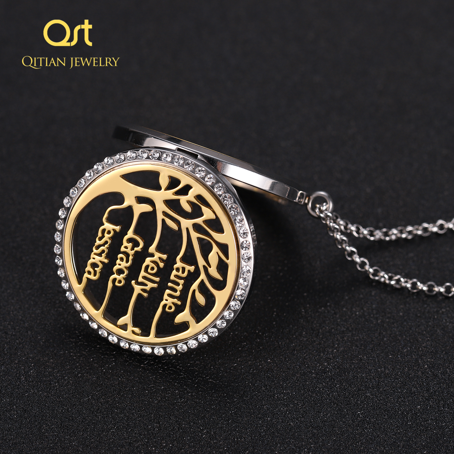 Personalized Statement Family Tree Necklace For Women custom Name Aromatherapy Stainless Steel Necklaces Men Jewelry bijoux Gift 4