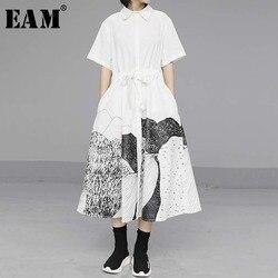 [EAM] женское платье-рубашка большого размера с принтом и кулиской, свободные рукава с отворотом, мода весна-лето 2020