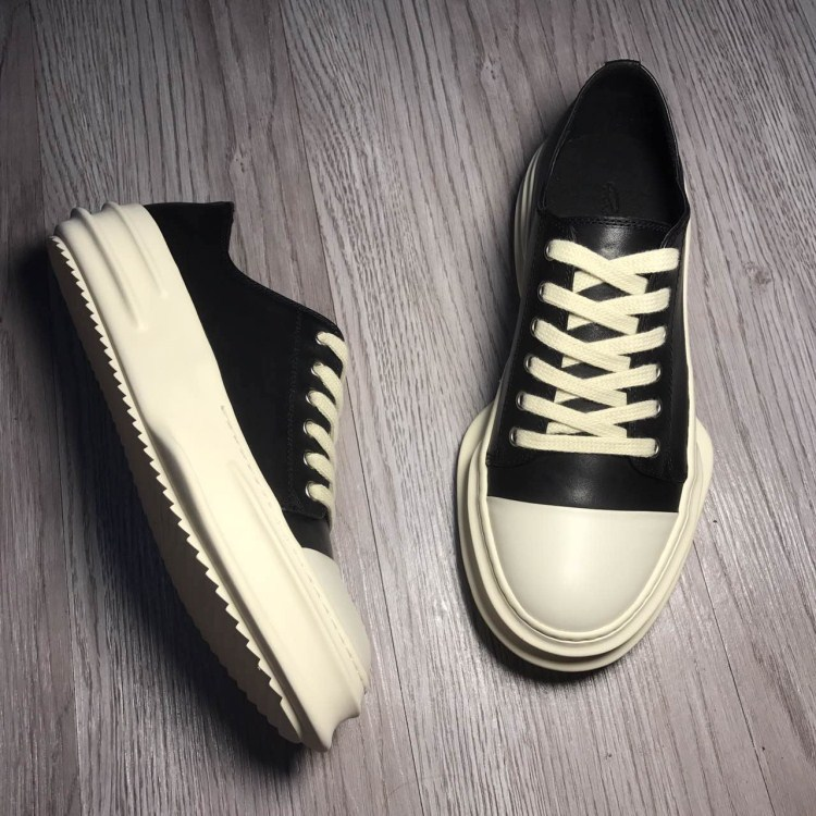 Men Casual Genuine Leather Shoes Male Women Couple Streetwear Hip Hip Punk Gothic White Black Cow Leather High-heeled Shoes