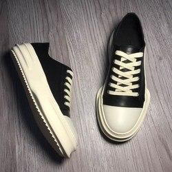 Zapatos casuales de cuero genuino para hombres, zapatos de tacón alto de cuero de vaca negro blanco gótico Punk a la cadera para parejas