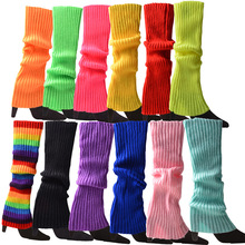 Women's Leg Warmer Multicolor Wool Knitting Foot Warming Cover Halloween Party Accessories Lady Stylish Elastic Long Tube Sock