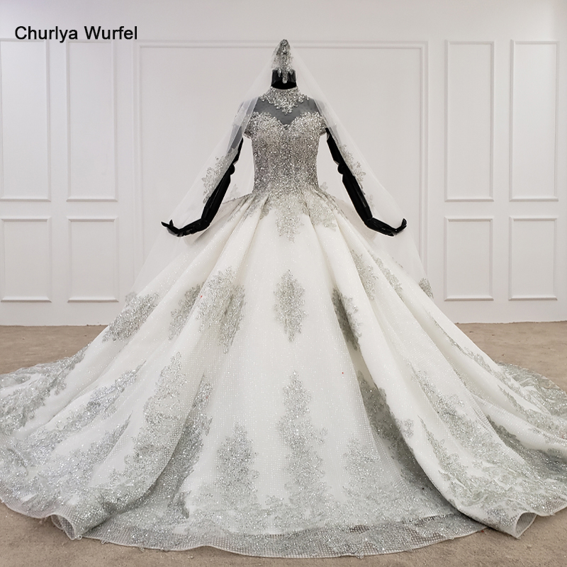 HTL1182 2020 african wedding gowns high neck short sleeves lace applique sequin pattern tulle wedding dress new vestido de novia