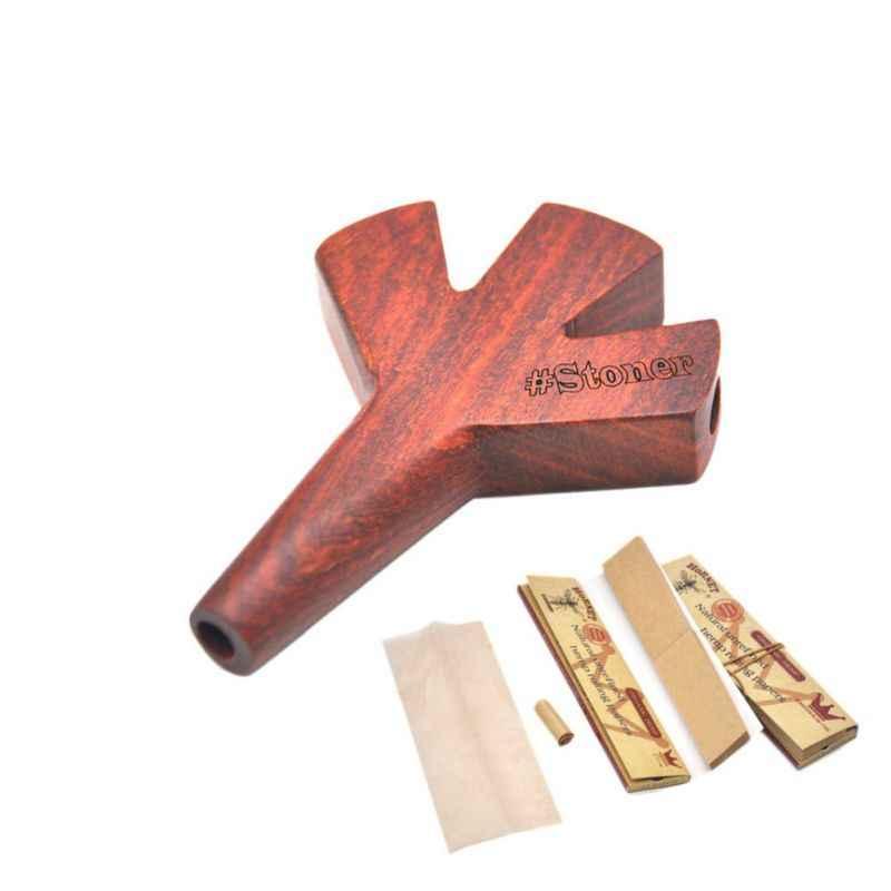 木材タバコパイプハンドメイド喫煙パイプトリプルバレル木製 Cig ホルダータバコ葉巻パイプ