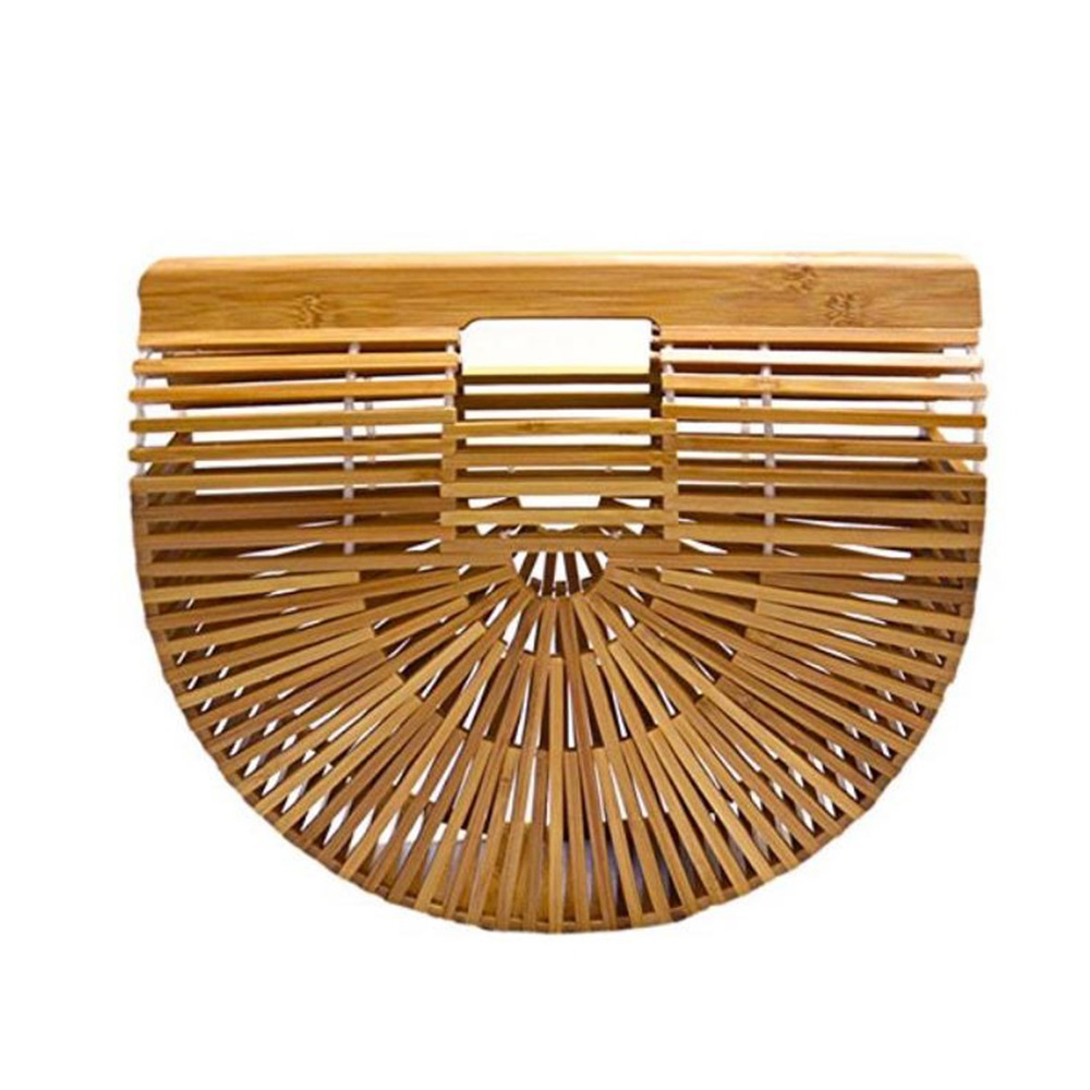 New Women Handbags Hollow Handmade Bamboo Knitting Straw Bag Fashion Square Summer Beach Bag Ladies Wood Bag Vacation Handbag