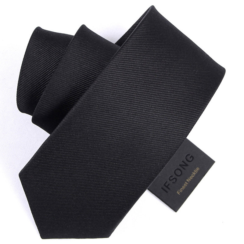 High Quality 2019 New Designers Brands Fashion Business 7cm Slim Ties For Men Silk Black Necktie Work Formal With Gift Box