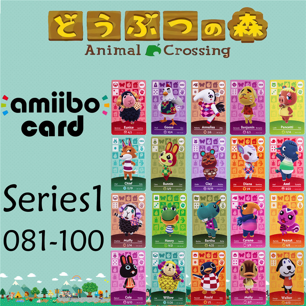 Animal Crossing Genuine data New Horizons Game Amiibo Card For NS Switch 3DS Game Set NFC Cards Series1 081-100 Matte material