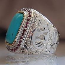 Retro Skull and Flower Ring for Men and Women Green Stone Ring Vintage Wild Skeleton Ring Ancient Flowers Pattern Finger Rings