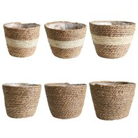Nordic Handmade Straw Storage Basket Indoor Outdoor Flower Pot Plant Container Home Living Room Bedroom Decoration