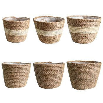 Nordic Handmade Straw Storage Basket Indoor Outdoor Flower Pot Plant Container Home Living Room Bedroom Decoration