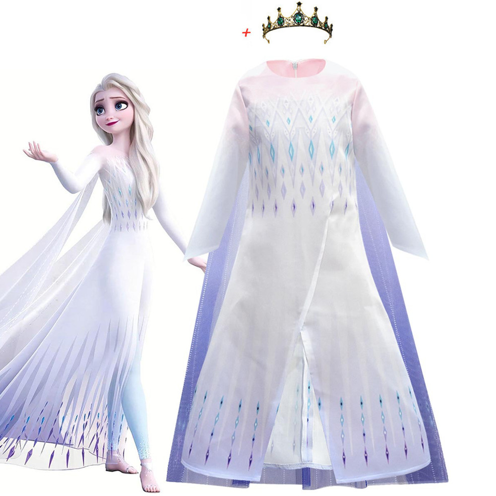 2020 Costume Elsa 2 Cosplay Elsa Anna Princess Dress Kids Dresses For Girls Evening Party Dresses Flower Girls Wedding Gowns