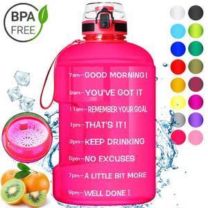 Image 1 - Спортивная бутылка для воды BuildLife, емкость 1,3л 2,2л 3,78л с фиксирующей крышкой, флаконы для занятий спортом, фитнесом, без БФА, большой емкости