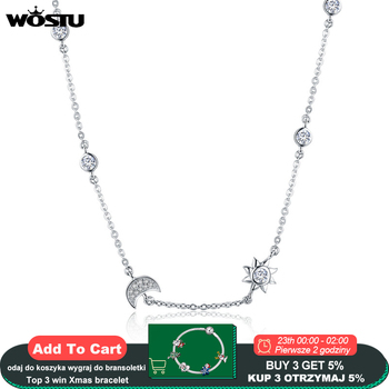 WOSTU Real 925 Sterling Silver Sparkling Moon and Star Exquisite Pendant Choker Necklace For Women Jewelry Gift CQN272