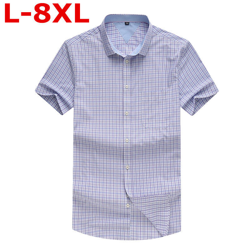 Plus Size 8XL 7XL 6XL NEW Men's Plus Size Clothing Short-sleeve Shirt Male Plaid Casual Summer Shirt Fat Big Short Sleeved Shirt