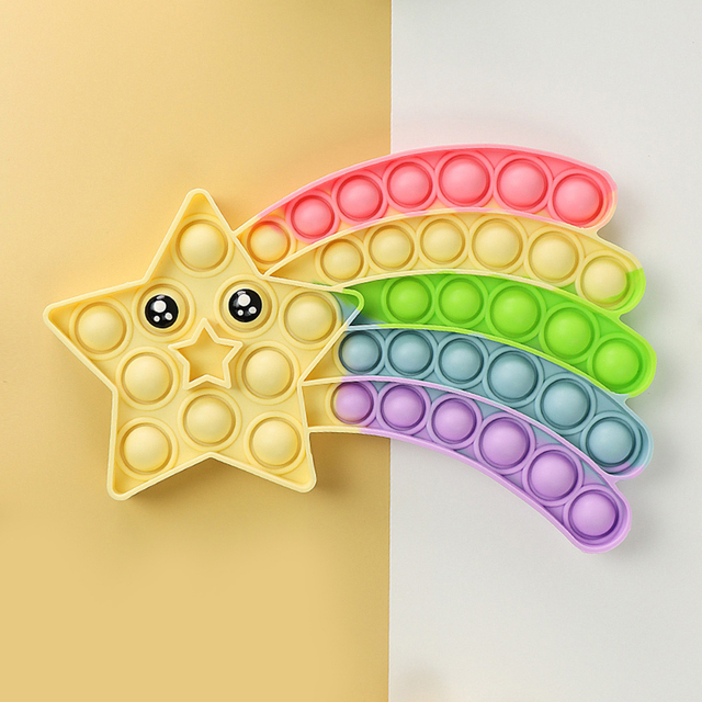Rainbow Star Fidget Toy Push Bubble Stress Sensory Toy Relief Anti-stress Simple Hand Game Toys 1