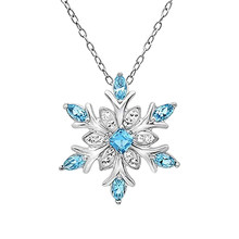 Cristal espumante congelado floco de neve colar feminino azul brilhante flor zircão gargantilhas colar senhoras meninas presente de aniversário