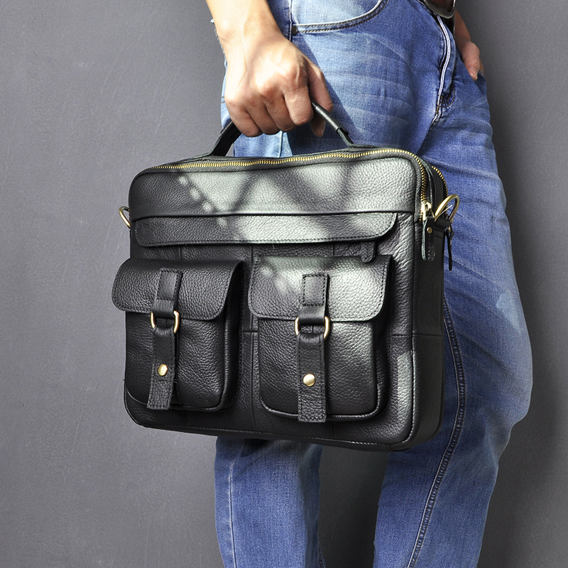 "H52735928903c4b2c88baa9aa7273b0290 Le'aokuu Men Real Leather Antique Style Coffee Briefcase Business 13"" Laptop Cases Attache Messenger Bags Portfolio B207-d"