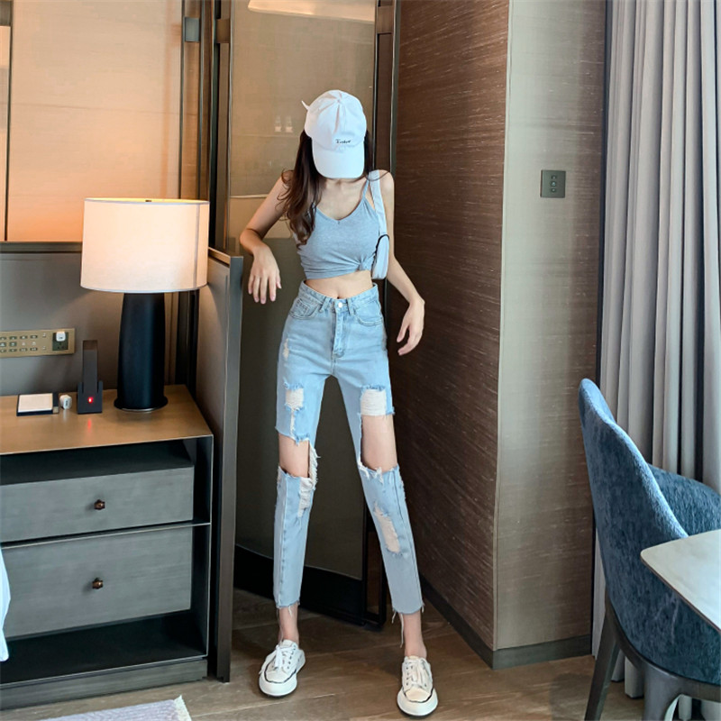 Korean style high waist fashion ripped jeans loose and thin straight cropped trousers