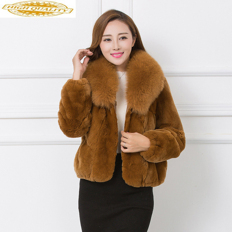 Women's Real Fur Coat Winter Rex Rabbit Fur Jacket Fox Fur Collar Short Coats And Jackets Women Clothes 2020 KJ3765