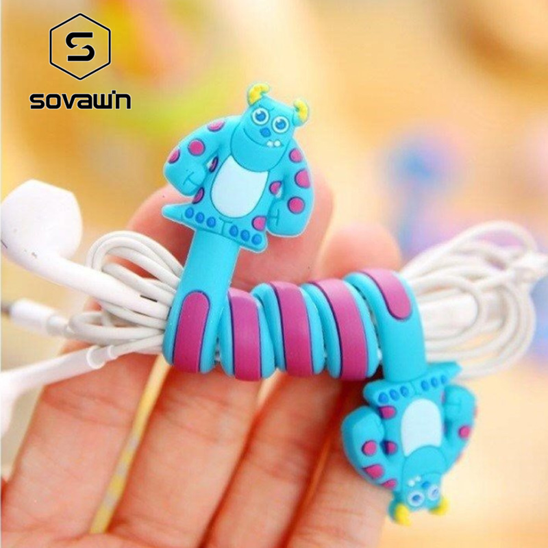 SOVIWN Mobile Phone Wire Organizer 1Set Cable Management Lovely Cartoon Cable Winder Pvc Material Earphone Protector Wire Holder