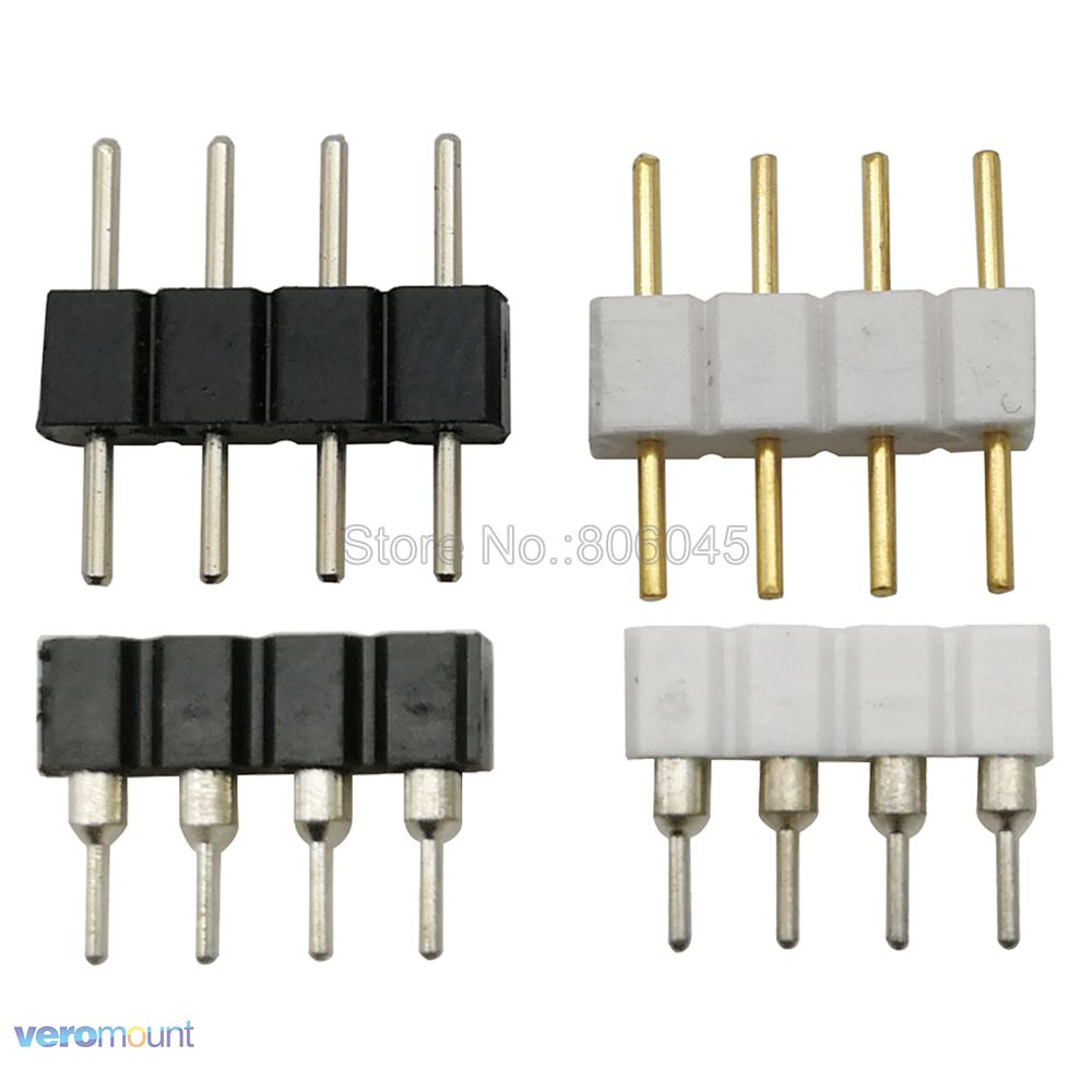 10pcs 4 Pin 4-Pin RGB Connector Adapter Male & Female Plug Socket Pin Needle For 5050 3528 RGB LED Strip Light LED Accessories