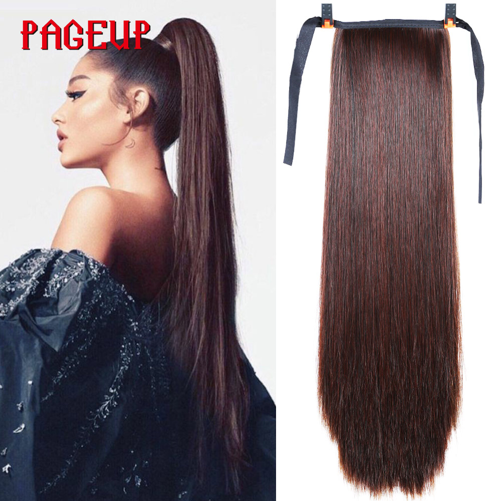 Pageup Women's Long Straight Synthetic Drawstring Ponytail Style High Temperatur Fiber Black Brown Ponytail Extensions