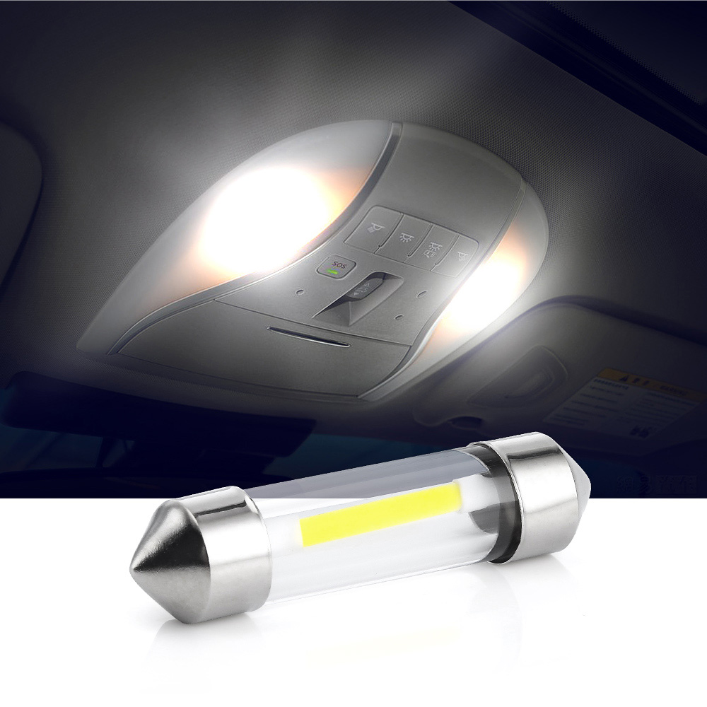 10 Pcs 12V C5W Cob Auto Led Lampen Interieur Festoen Dome Reading Lichtbron Wit Side Kentekenverlichting 41Mm 39Mm 36Mm 31Mm